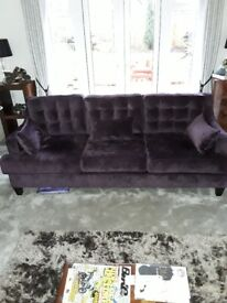 2 x 3 seater sofa. 1 chair Quality mulberry cloth suite.