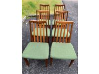 Set of 6 Antique G-plan solid teak wood dining chairs.