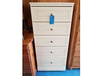 Large Chest of Drawers White Alston Furniture 5 Drawers