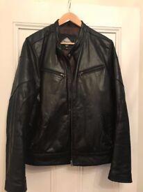 Men's collarless black leather motorcycle jacket