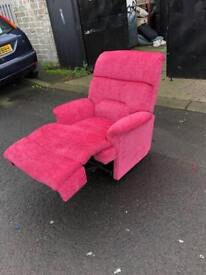 Pink reclining fabric LAZYBOY armchair ** just been recovered**