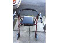 Red 4 Wheeler Disability Walker