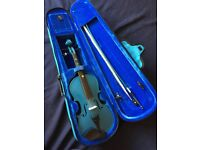 1/2 -size Violin + case, bow, chin rest and rosin. 1/2-size. Lovely. Unique colour. Well-loved. £35