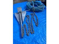 2.5 KILO DANFORTH BOAT ANCHOR + approx 2-3 MTRS CHAIN PLUS ROPE