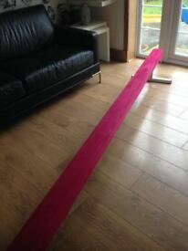 Just4gym 10ft pink suede beam with short and longer legs. as new