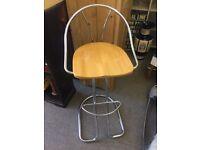 Wood and chrome breakfast bar stools