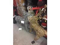 Rattan light up reindeer. 1000mm high