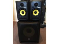 KRK Rokit RP5 G3 & KRK 10s Sub, Studio Monitors & Adam Hall Stands