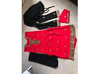 Red, Black and Gold Indian Suit