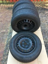Set of 4 used winter tyres on steel wheels R15