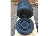 Set of 4 used winter tyres on steel wheels R15