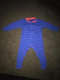 Blue striped sleep suit boys 3-6 months top maths Sainsbury's