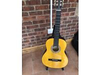 Acoustic guitar with case - stand not included - used but good condition