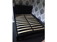 Double bed leather look and mattresses MUST GO TOMORROW