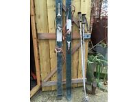 Vintage skis with poles