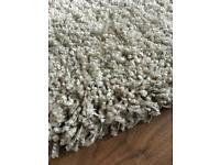 Large shaggy wool stone/beige colour rug