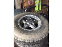 Land rover alloys with off road tyres