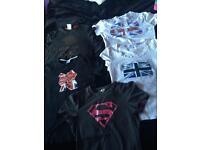 Five Ladies size 8/10 GB/ superwoman t-shirts