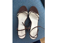 Oasis Brown and cream wedges - size 7