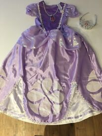 Disney Sofia the First costume with pendant attached and tiara headband, age 7-8