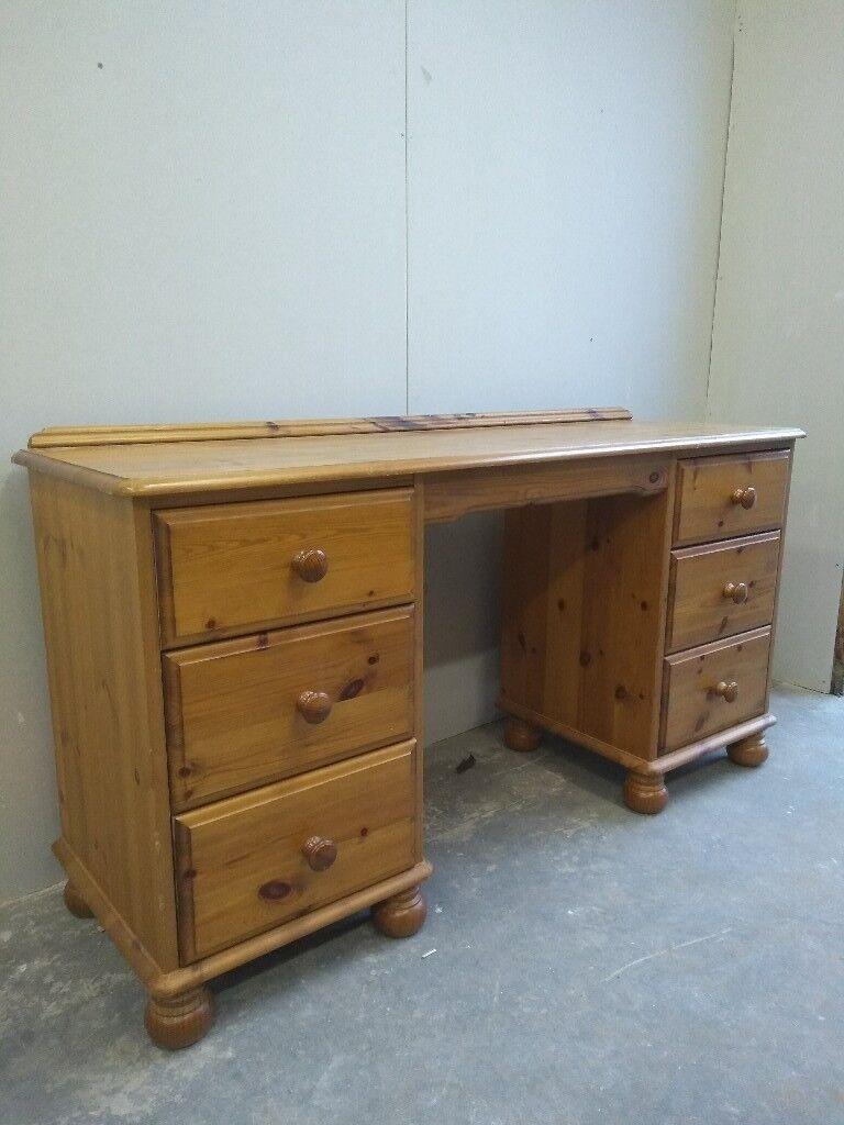 6 Drawer Pine Desk