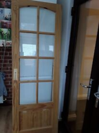 4x pine/white glazed internal doors