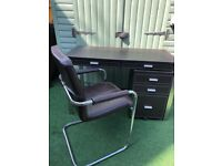 Desk, chair & filling cabinet leather look