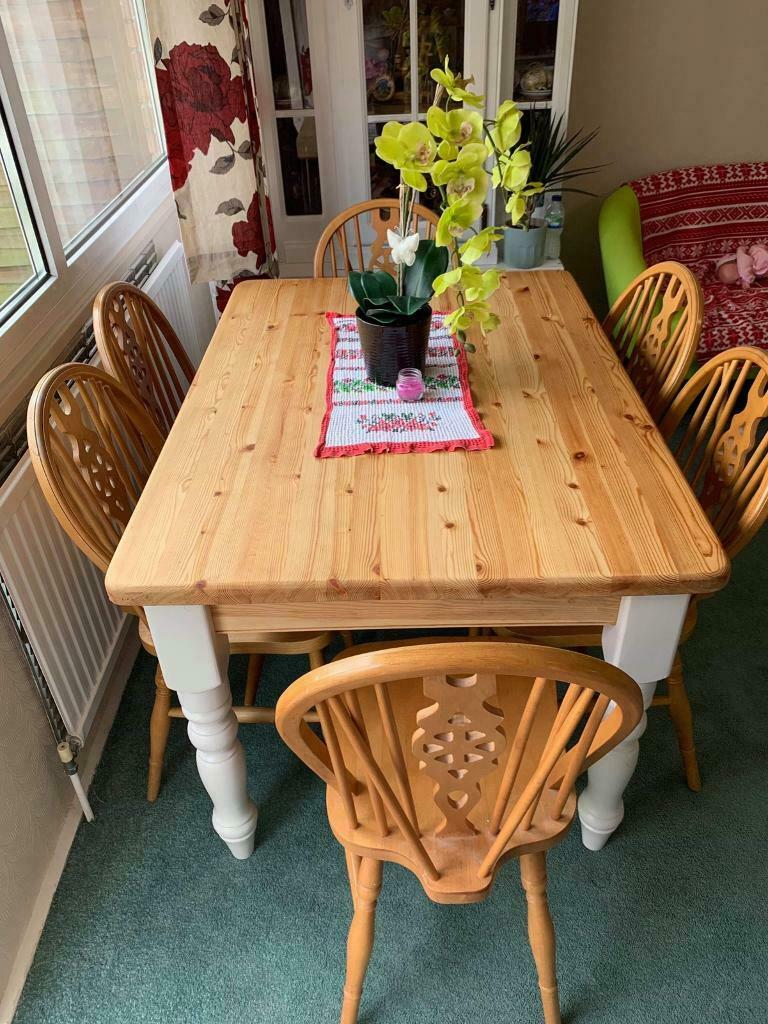 farmhouse dining table with six chairs  in kidlington