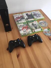 Xbox360S Black 7 Games 2 Controllers (GTA,FIFA,COD)