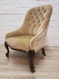 Victorian Button Back Chair (DELIVERY AVAILABLE FOR THIS ITEM OF FURNITURE)