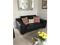 Sofa and Arm Chair Black Leather