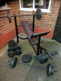 Adidas weight set and bench.