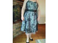 Size 20 new halterneck 50's style silver dress