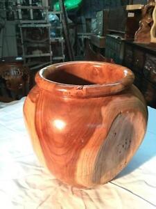 VASE sculpté dans une seule pièce de BOIS de TECK -Indonésie // Handcarved Teak Wood Vase from Indonesia