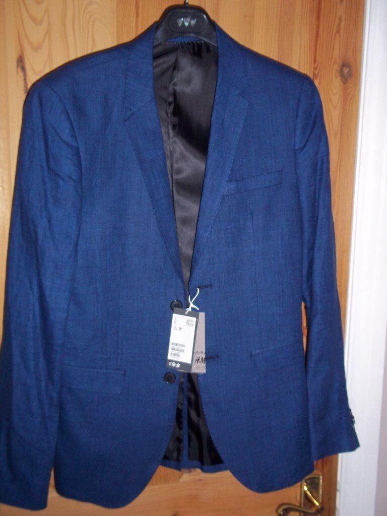 H&M MENS PURE LINEN BLAZER 38R SLIM FIT MARLIN BLUE BRAND NEW