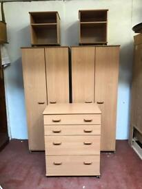 5 piece new bedroom suite with 2 wardrobes chest of drawers and pair of bedsides