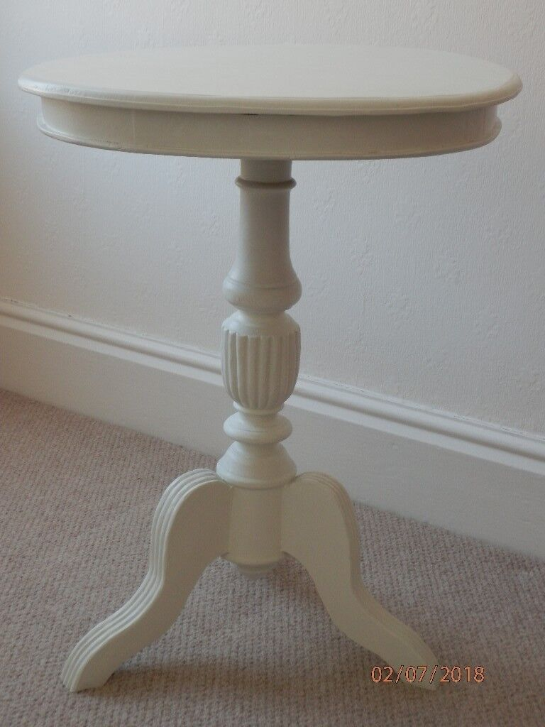 White Painted Lamp Side Table Drum Style