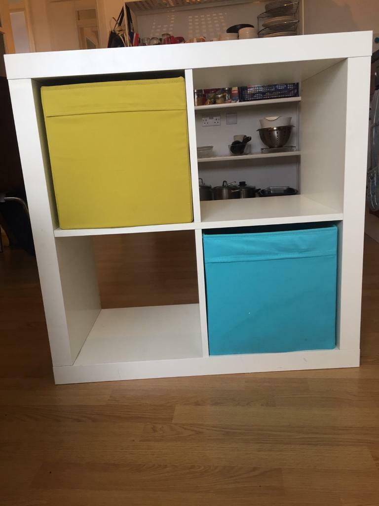 new style 2ea91 e1d80 White 2x2 Ikea Kallax storage shelves / tv stand with 2 colourful storage  boxes | in West Hampstead, London | Gumtree