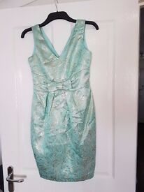 """Teal and gold party dress. Size 10 , petite. M&Co - """"Waterfall floral fantasies"""""""