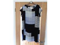 Next Black/Blue/White Shift Dress Size 14