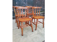 Four Solid Pine Farmhouse Dining Chairs - *Free Local Delivery