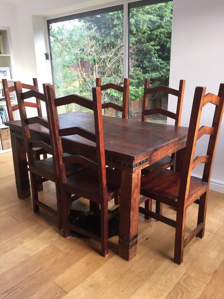 Liverpool Merseyside 35000 Dining Table And 6 Chairs Dark Wood