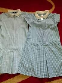 Blue school summer dress 6-7y +5-6y