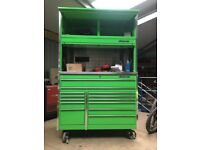 "54"" krl snap on tool box with riser and top box in great condition"