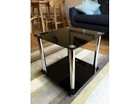 Black and Silver Twin Shelf Square Glass Coffee / Side Table