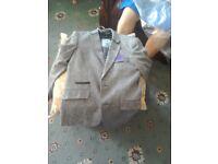 Boys tweed stylish GREY/ BLACK jacket age 10/12