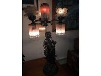 Fantastic Unique Art Nouveau Bronze Classical Lady Table Lamp with Glass Floral Crystal Drop Shades