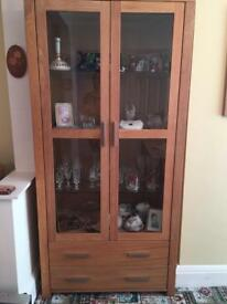 Solid Royal Oak display cabinet, with draws