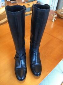 Ladies Black Leather Boots (Size 5)