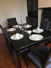 Laura Ashley black Henshaw dining room table and 4 chairs